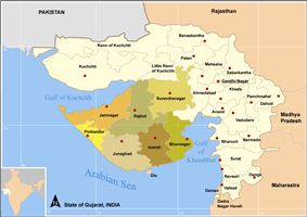 Districts included in Saurastra highlighted