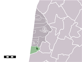 The town centre (darkgreen) and the statistical district (lightgreen) of Egmond-Binnen in the municipality of Bergen (NH.)
