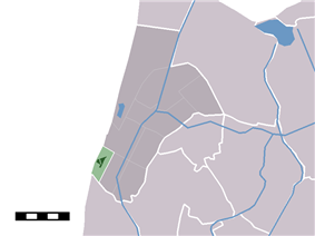 The town centre (darkgreen) and the statistical district (lightgreen) of Petten in the former municipality of Zijpe.