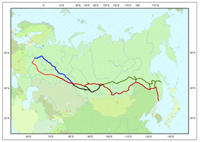 Trans-Siberian line in red; Baikal–Amur Mainline in green