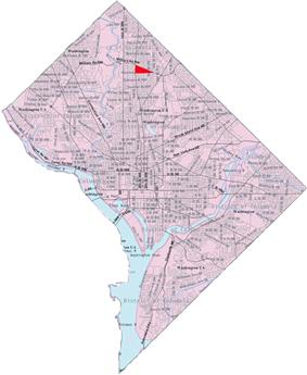 Map of Washington, D.C., with Brightwood Park highlighted in red