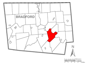 Map of Bradford County with Asylum Township highlighted