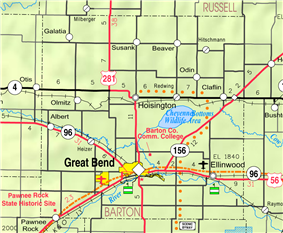 KDOT map of Barton County (legend)