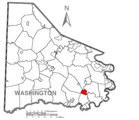 Location of Beallsville in Washington County