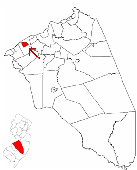 Riverside Township highlighted in Burlington County. Inset map: Burlington County highlighted in the State of New Jersey.