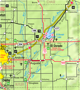 KDOT map of Butler County (legend)