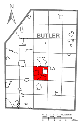 Map of Butler County, Pennsylvania highlighting Butler Township