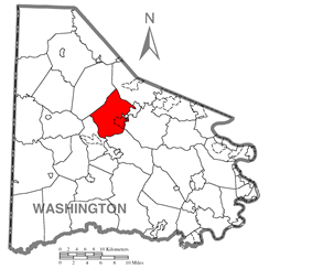 Map of Washington County, Pennsylvania highlighting Chartiers Township