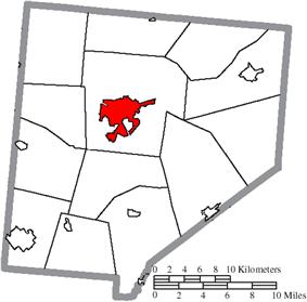 Location of Wilmington in Clinton County
