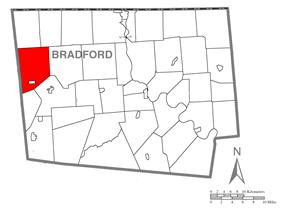 Map of Bradford County, Pennsylvania highlighting Columbia Township