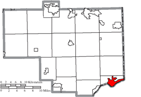 Location of East Liverpool in Columbiana County