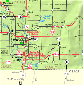 Location within Cowley county