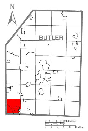 Location of Cranberry Township in Butler County