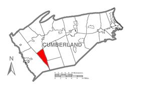 Map of Cumberland County, Pennsylvania highlighting South Newton Township