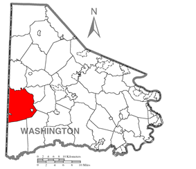 Location of Donegal Township in Washington County