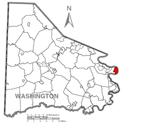 Location of Donora in Washington County
