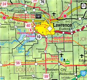 KDOT map of Douglas County (legend)