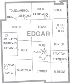 Map of Edgar County, Illinois.