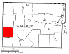 Location of Eldred Township in Warren County
