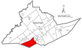 Map of Centre County, Pennsylvania highlighting Ferguson Township