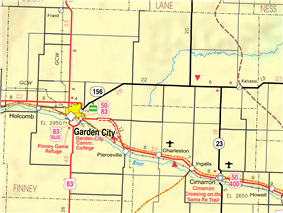 KDOT map of Finney County (legend)