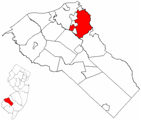 Deptford Township highlighted in Gloucester County. Inset map: Gloucester County highlighted in the State of New Jersey.