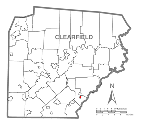 Map showing Houtzdale in Clearfield County