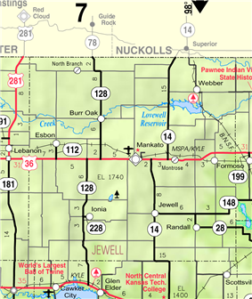 KDOT map of Jewell County (legend)