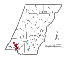 Location of Johnstown in Cambria County