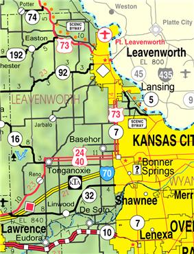 KDOT map of Leavenworth County (legend)