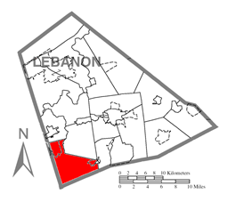 Map of Lebanon County, Pennsylvania highlighting South Londonderry Township