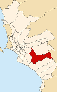Location of Pachacamac in the Lima province
