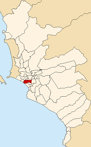Location of San Isidro in the Lima province