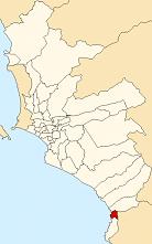 Location of Santa María del Mar in the Lima province