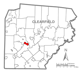 Location of Lumber City in Clearfield County