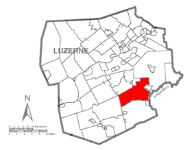 Map of Luzerne County, Pennsylvania Highlighting Dennison Township
