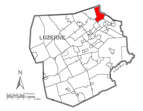 Map of Luzerne County, Pennsylvania Highlighting Exeter Township