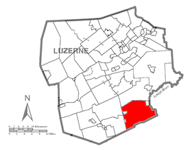 Map of Luzerne County, Pennsylvania Highlighting Foster Township