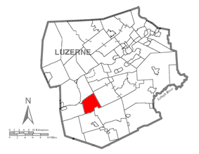 Map of Luzerne County, Pennsylvania Highlighting Hollenback Township