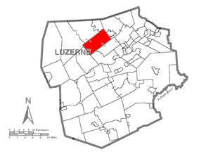 Map of Luzerne County, Pennsylvania Highlighting Lehman Township