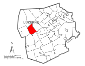 Map of Luzerne County, Pennsylvania Highlighting Union Township