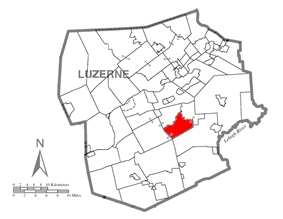 Map of Luzerne County, Pennsylvania Highlighting Wright Township