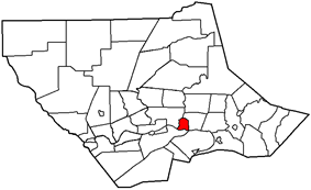 Location of Montoursville within Lycoming County