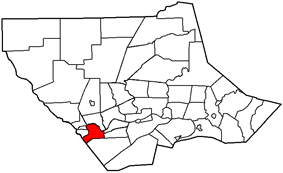 Map of Lycoming County, Pennsylvania highlighting Nippenose Township