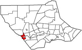 Map of Lycoming County, Pennsylvania highlighting Porter Township