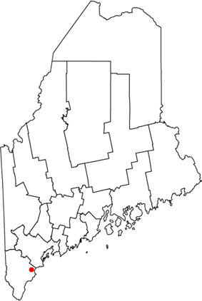 Location of city of Saco in Maine
