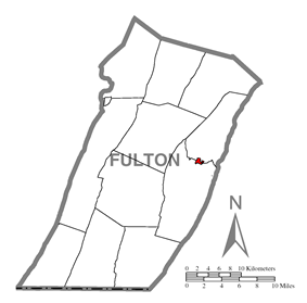 Location of McConnellsburg in Fulton County