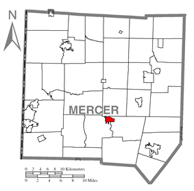 Location of Mercer in Mercer County