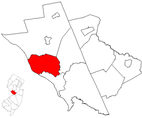 Ewing Township highlighted in Mercer County. Inset map: Mercer County highlighted in the State of New Jersey.