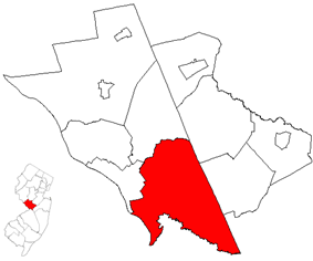 Hamilton Township highlighted in Mercer County. Inset: Location of Mercer County highlighted in the State of New Jersey.